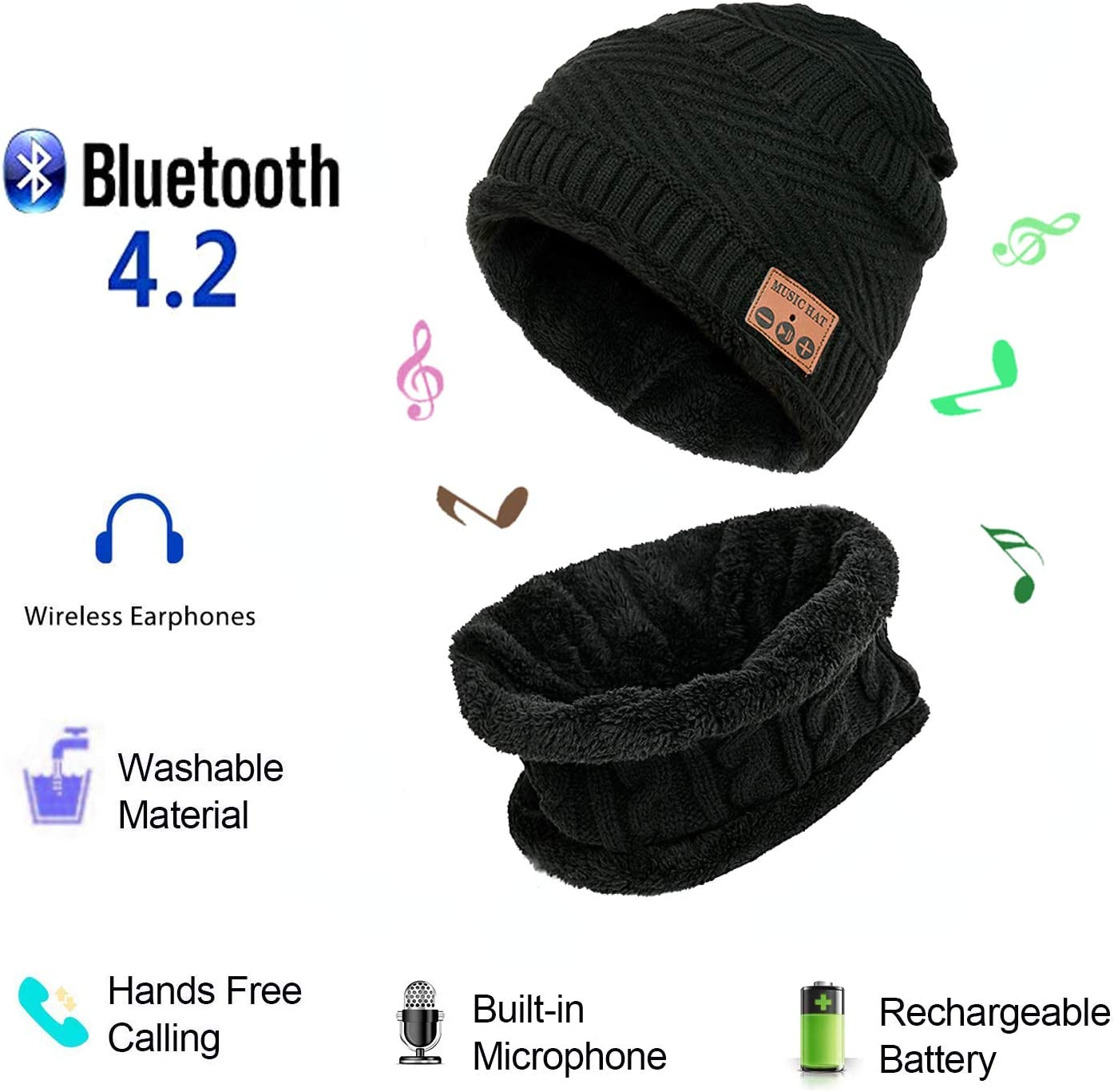 Bluetooth Beanie Music Hat,Wireless Headphones Knitted Cap with Warm Scarf for Walking Dog Winter Sports Traveling Exercise Running Waiting Bus (Black)