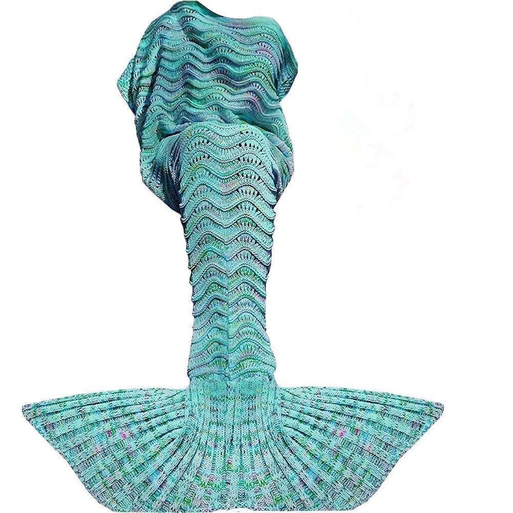 Fu Store Mermaid Tail Blanket Crochet Mermaid Blanket for Adult, Super Soft All Seasons Sofa Sleeping Blanket, Cool Birthday Wedding Christmas, 71 x 35 Inches, Mint Green by Fu Store