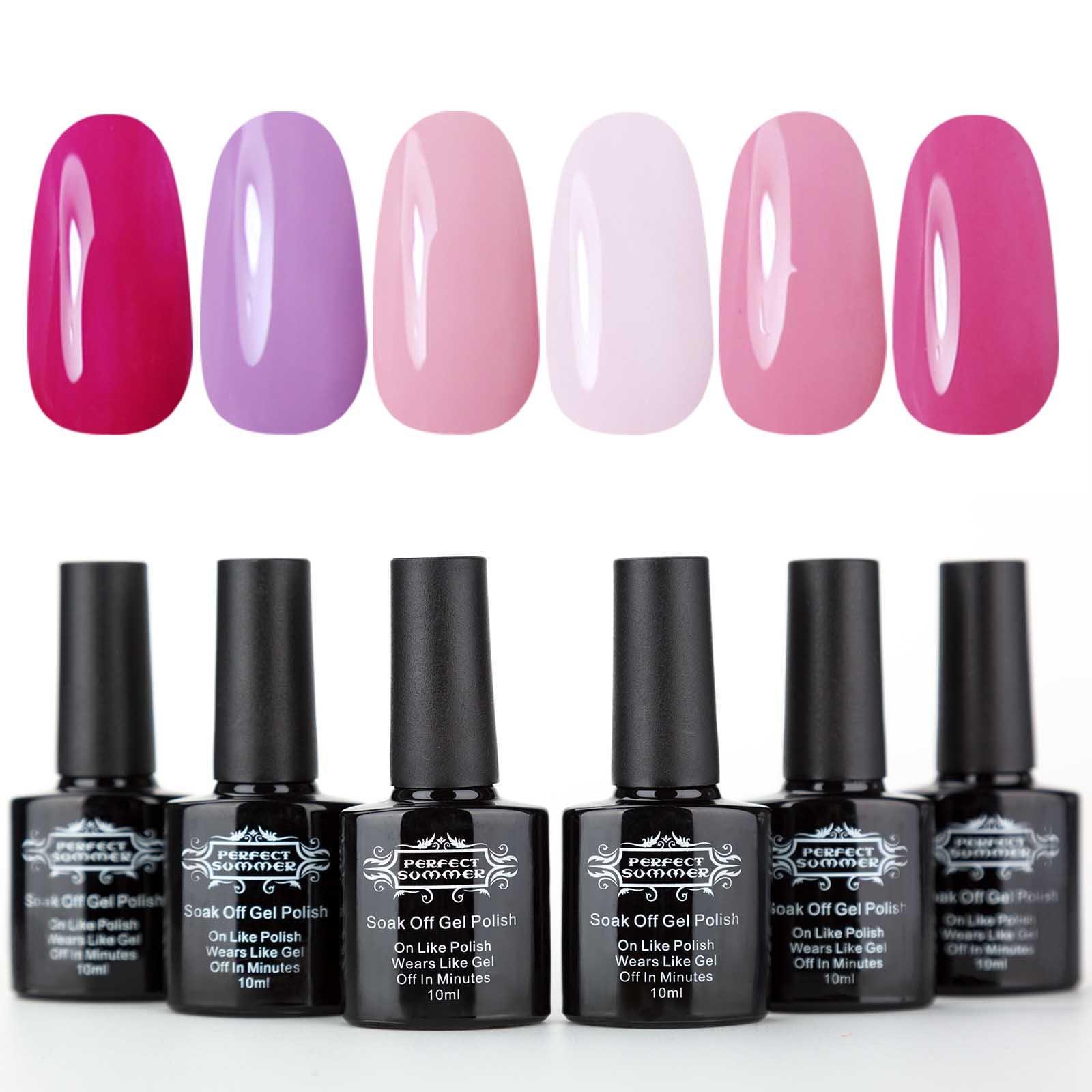 Perfect Summer Pink Gel Nail Polish Kit - UV LED Soak Off Nail Polish, Starter Kit,10ml each #09 by Perfect Summer