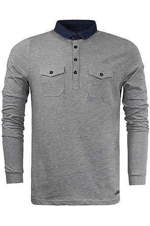 Brave Soul Herren Blusen Poloshirt, Einfarbig grau grau Small Gr. Small,  grau
