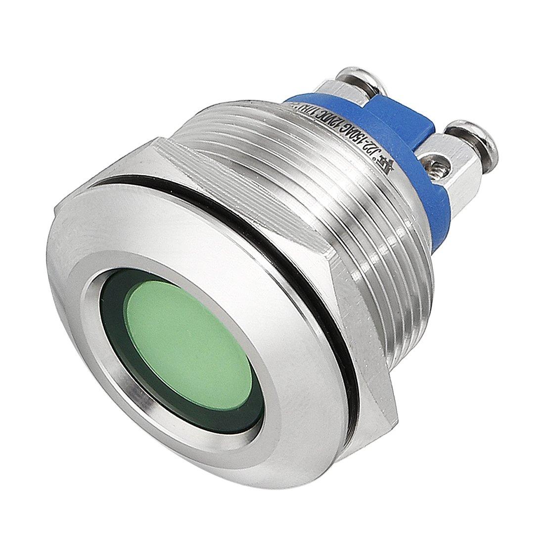 uxcell LED Indicator Light 12V 8mm Green Metal Shell Pilot Dash Signal Lamp High Shape Head