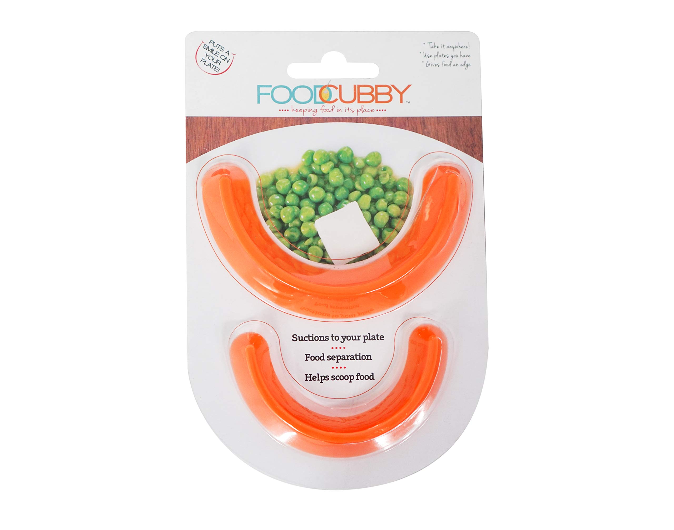 Food Cubby Plate Divider 2 PACK - Food Separator - Food Safe Silicone (2, Orange1)