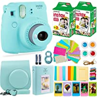 Fujifilm Instax Mini 9 Instant Camera + Fuji Instant Film (40 Sheets) + Accessories Bundle - Carrying Case, Color Filters, 2 Photo Albums, Assorted Frames, Selfie Lens + More (Ice Blue)