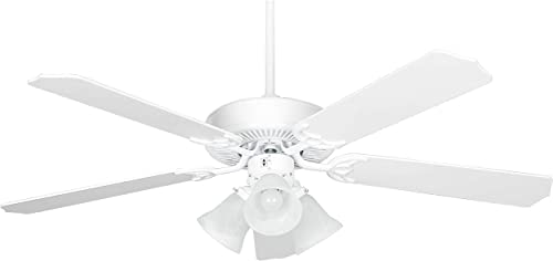 Concord Fans 52HEH5EWH Protruding Mount, 5 White Blades Ceiling fan with 75 watts light, White