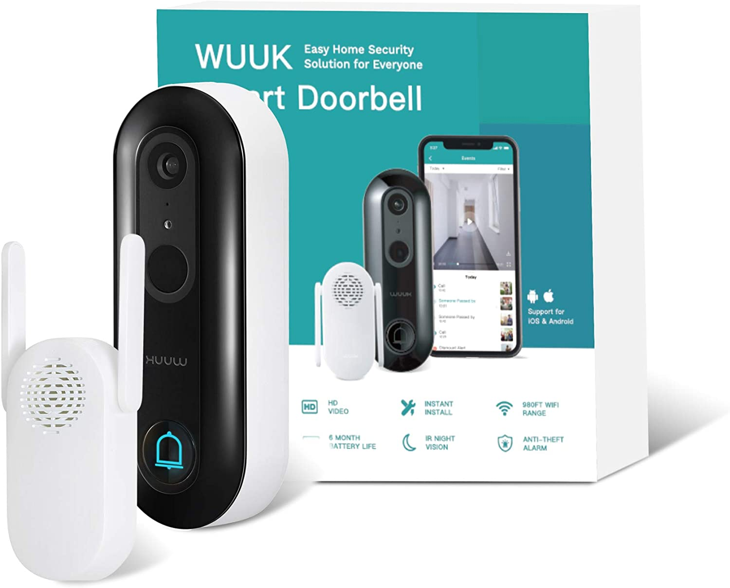 WUUK Smart Doorbell (Battery-Powered) Wireless Video Security Camera No Monthly Fee, Human Detection, 2-Way Audio, Simple Self-Installation (WUUK Smart Doorbell)