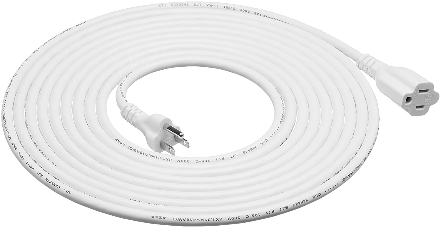 AmazonBasics Extension Cord - 20 feet - US - White