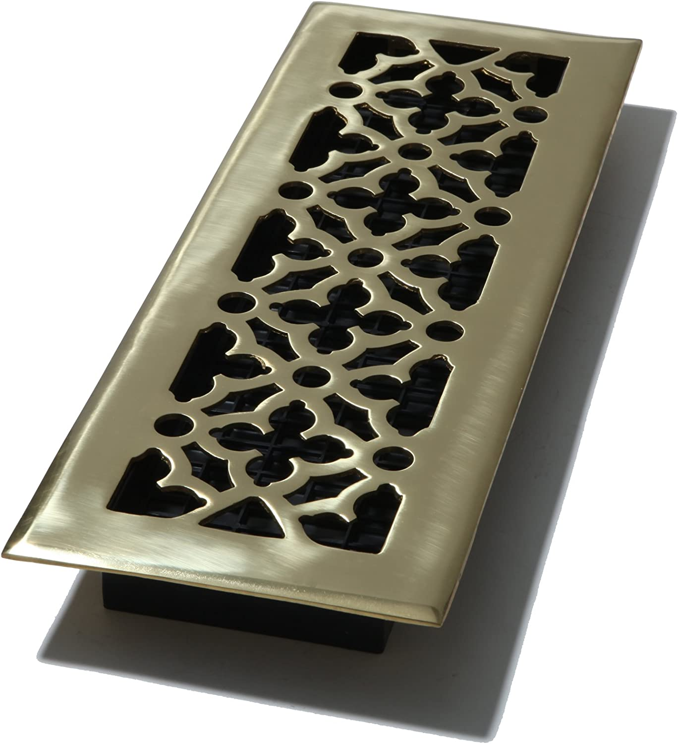 Decor Grates AG414 4-Inch by 14-Inch Gothic Floor Register, Solid Brass