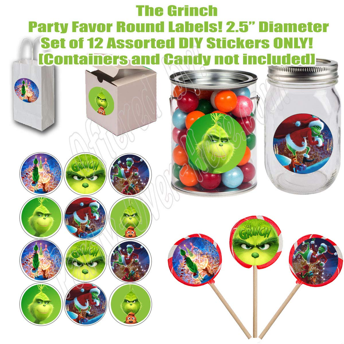 """who Stole Christmas Cards Dog Max Grinch Movie Stickers Cindy Lou Who Boxes or Containers -12 pcs Large 2.5/"""" Round Circle Stickers to Place onto Party Favor Bags Whoville"""