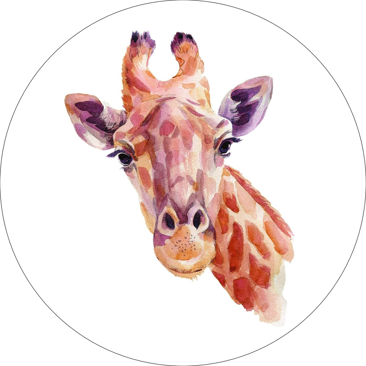 Giraffe Home Wall Shelf Decor Animal Decorations Watercolor Round Sign - 12 Inch, Plastic