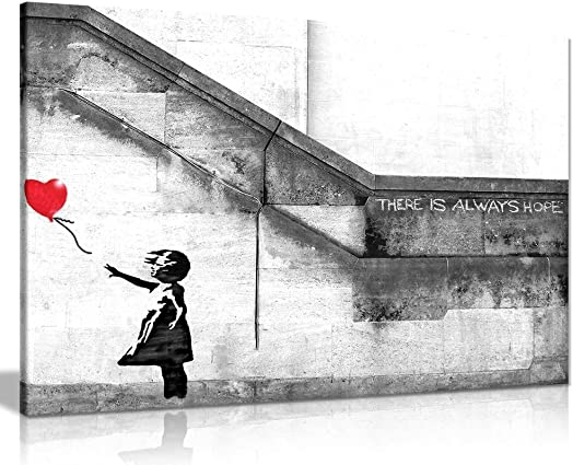 Banksy Balloon Girl Graffiti Canvas Wall Art Picture Print 36x24in