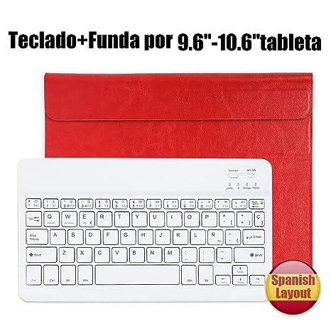 Teclado Bluetooth Español QWERTY Funda ,CoastaCloud Funda Case del Teclado Inalámbrico Magnético Para Cualquier Windows
