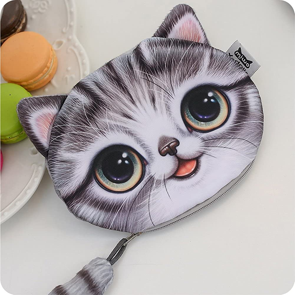 Creative Cat with a Tail Funny Lifelike Animals 3d Printed Coin Purse Practical Helpful Credit Bank Saving Card Case Card Wallet Newest 4 Kinds of Optiona NYPurse01