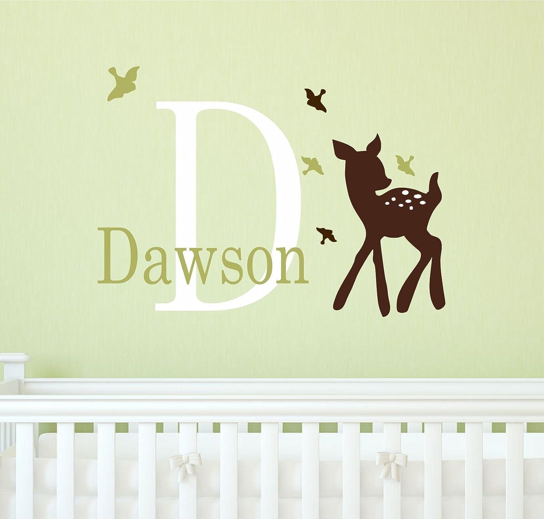 Amazon.com: Deer and name wall decal - Deer nursery wall decor ...