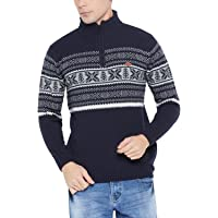 Duke Solid Navy Blue Coloured Men Wool Sweater