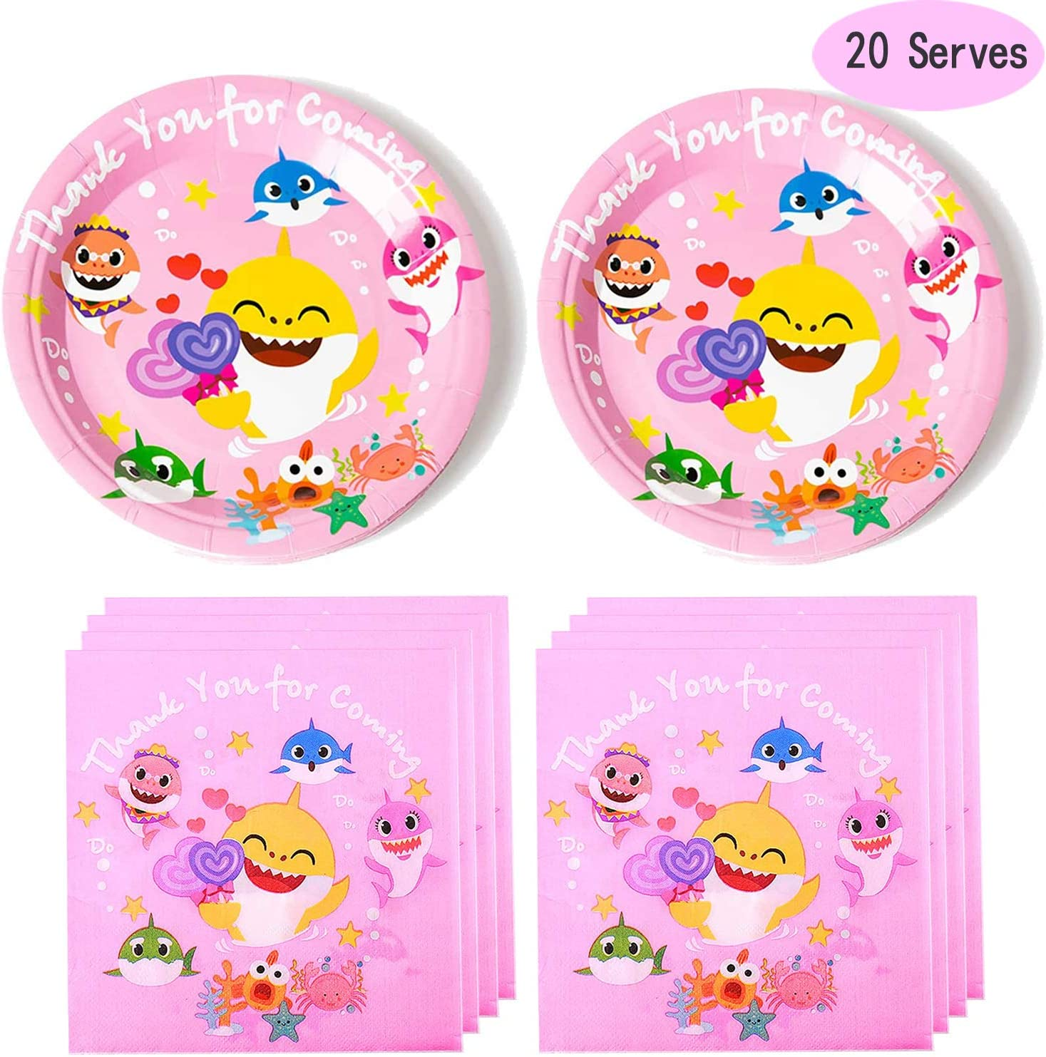 Disposable Paper Party Plates for Birthday 7inch Baby Shower Plates 30 Packs Baby Shark Plates
