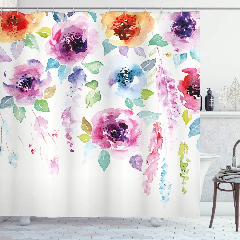 Watercolor Garden Pattern Shower Curtain Fabric Decor Set With Hooks 4 Sizes Bath Home Garden