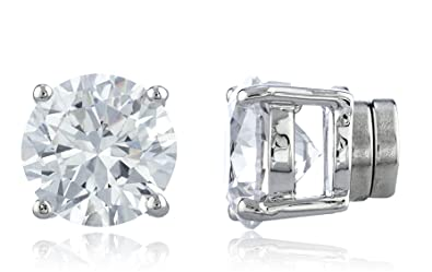 Magnetic Stainless Steel Clear Cubic Zirconia Round Classic Gem Stud Earrings - Size: Small (4mm) HE9xIxy