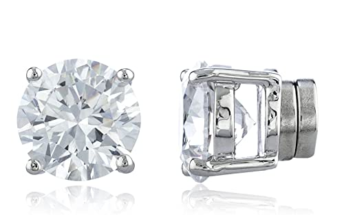 6be0b6dfe Silvertone Magnetic Earrings with Clear Cz Round - 4mm to 12mm (10  Millimeters) (