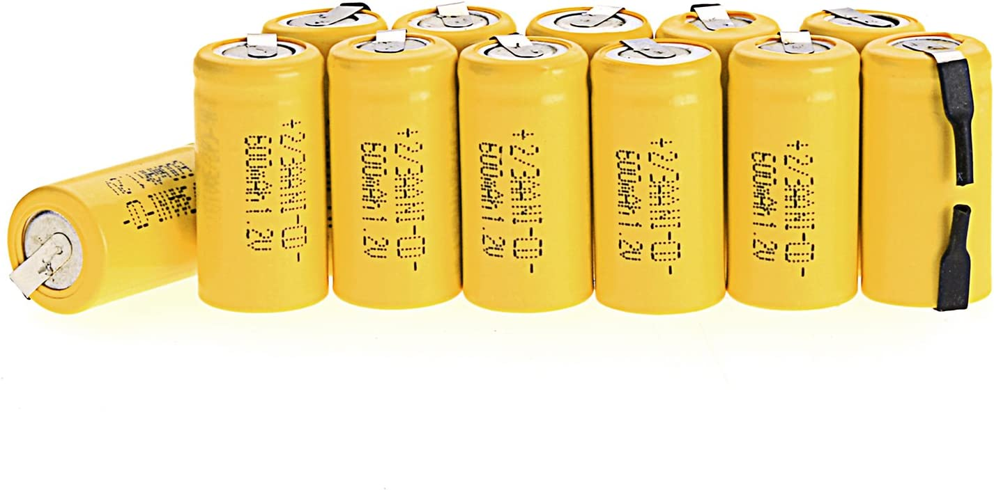 Odstore AA Ni-Cd 1.2V 2/3AA 600mAh Rechargeable Battery - 12pcs yellow