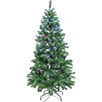 Signstek 6FT Pre Lit Fiber Optical Artificial Christmas Tree with 33 Colorful LED Lights and 550 PVC Tips
