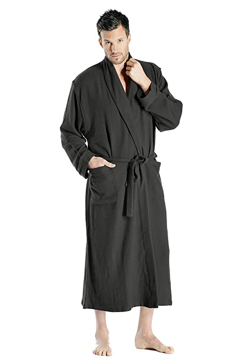 Cashmere Boutique: 100% Pure Cashmere Full Length Robe for Men (Color: Charcoal Gray, Size: Small/Medium) best men's bath robes
