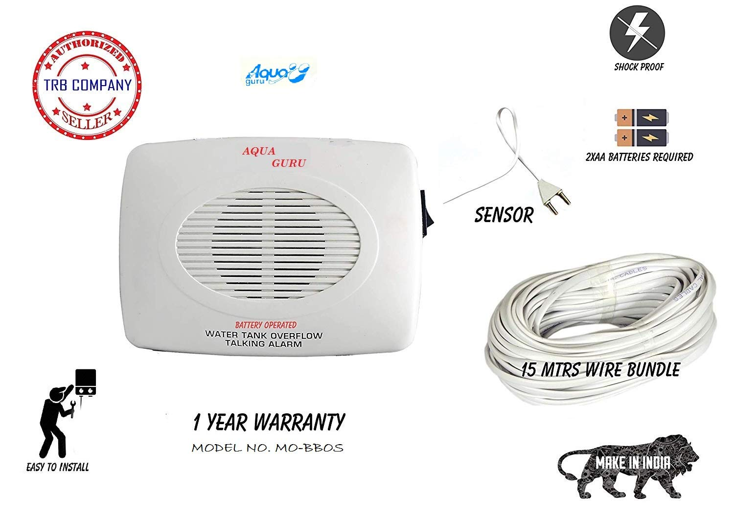 Amazon price history for AQUA GURU TRB Company Water Tank Overflow/Leak Battery Operated DC Alarm-Bell with 15 m Wire and Sensor and 1 Extra Sensor (White)
