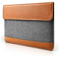 tomtoc Ultra Slim Felt & PU Leather Protective Bag for Apple 15 Inch New MacBook Pro with Touch Bar (A1990 & A1707) Sleeve Tablet Case Cover with Accessory Pocket, Classic