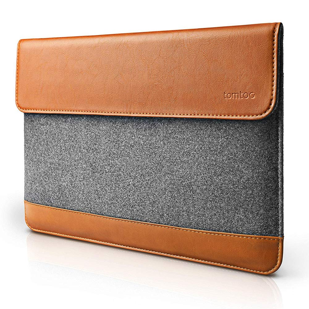 tomtoc Slim Laptop Sleeve for New MacBook Air 13-inch with Retina Display A1932, 13 Inch MacBook Pro with USB-C Late 2016-2019 A2159 A1989 A1706 A1708, Felt & PU Leather Envelope Case by tomtoc