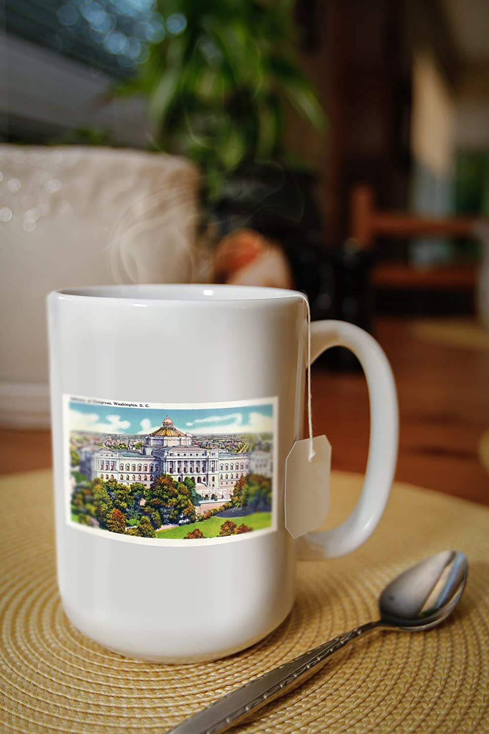 Washington Dc Exterior View Of The Library Of Congress 15oz White Ceramic Mug Posters Prints