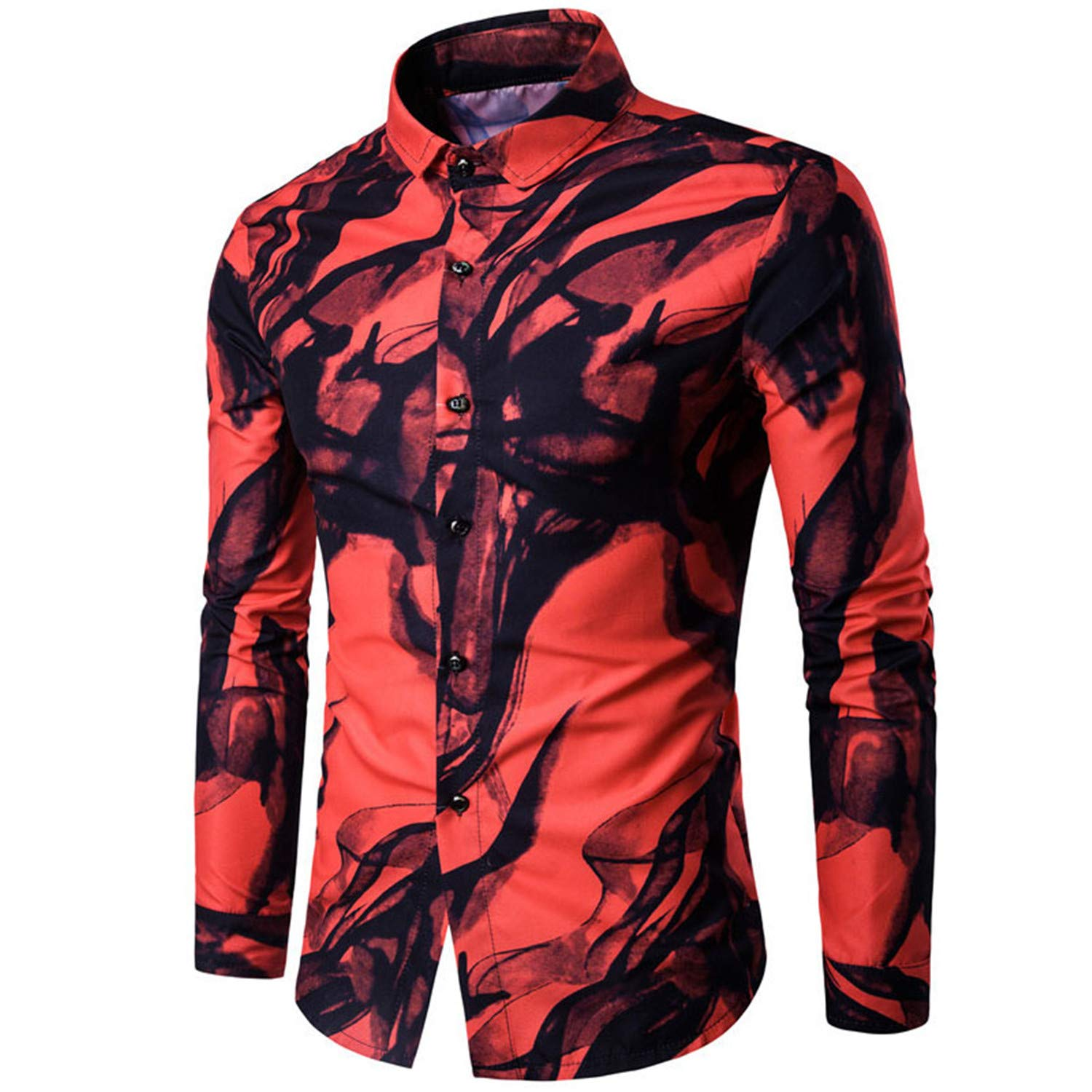 Men Shirt Luxury Brand Long Sleeve Tops Ink Printed Slim Fit Casual Shirt China Style Men Clothes