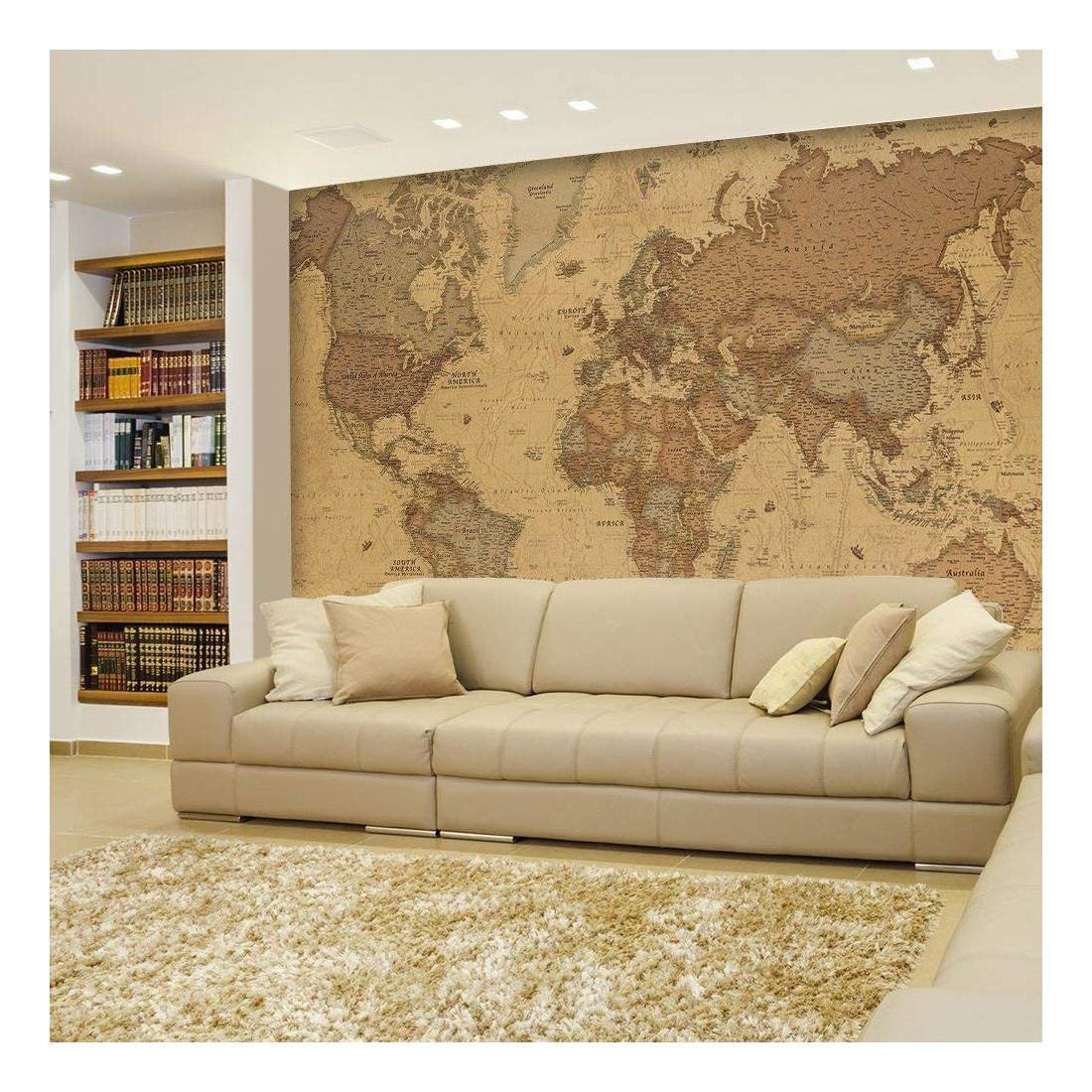 wall26 - Antique Monochrome Vintage Political World Map Wallpaper - Wall Mural, Removable Sticker, Home Decor - 66x96 inches by wall26 (Image #1)