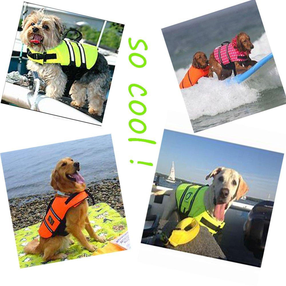 SILD Pet Life Jacket Size Adjustable Dog Lifesaver Safety Reflective Vest Pet Life Preserver Dog Saver Life Vest Coat for Swimming,Surfing,Boating, Hunting (XL, Orange) by SILD (Image #5)