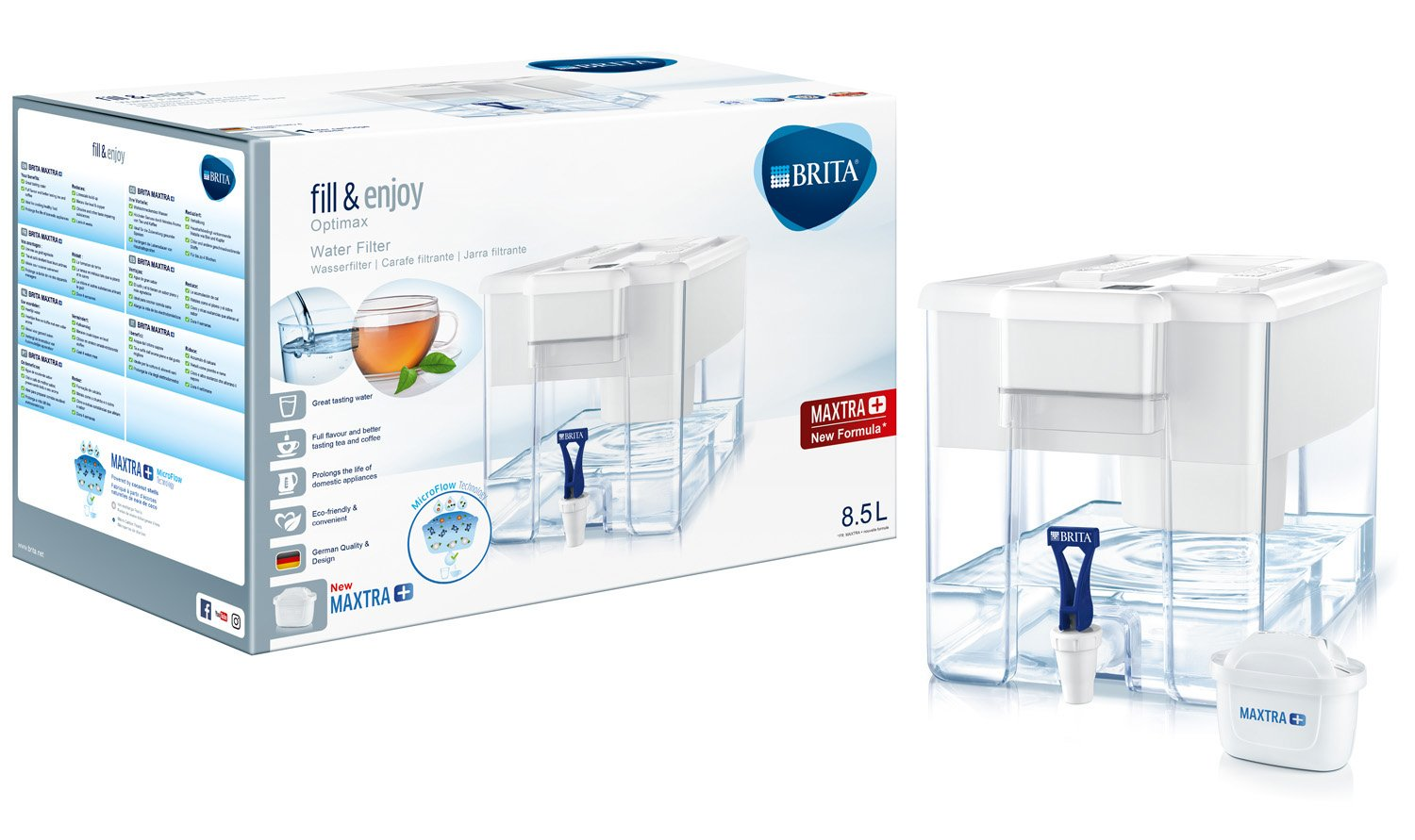 BRITA Optimax - Dispensador de agua filtrada con 1 filtro MAXTRA+, color blanco: Amazon.es: Hogar