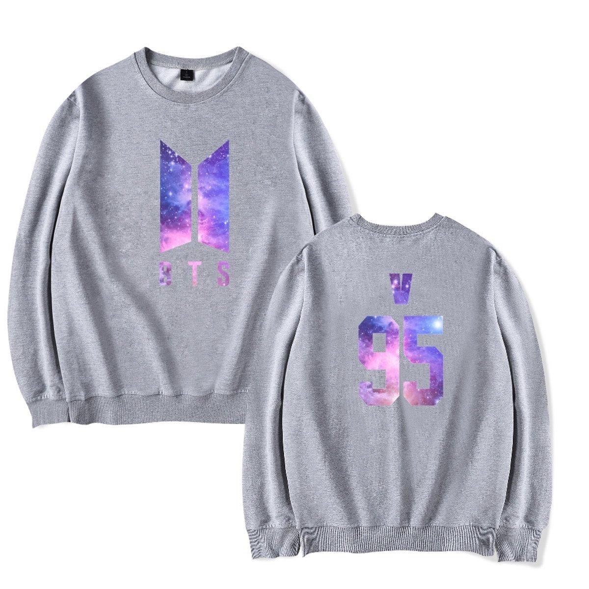 SIMYJOY Amants BTS Ciel /étoil/é Ventilateurs Sweat Kpop Pulls Coll/ège Hip Hop Sweat Shirt pour Hommes Femmes Adolescents