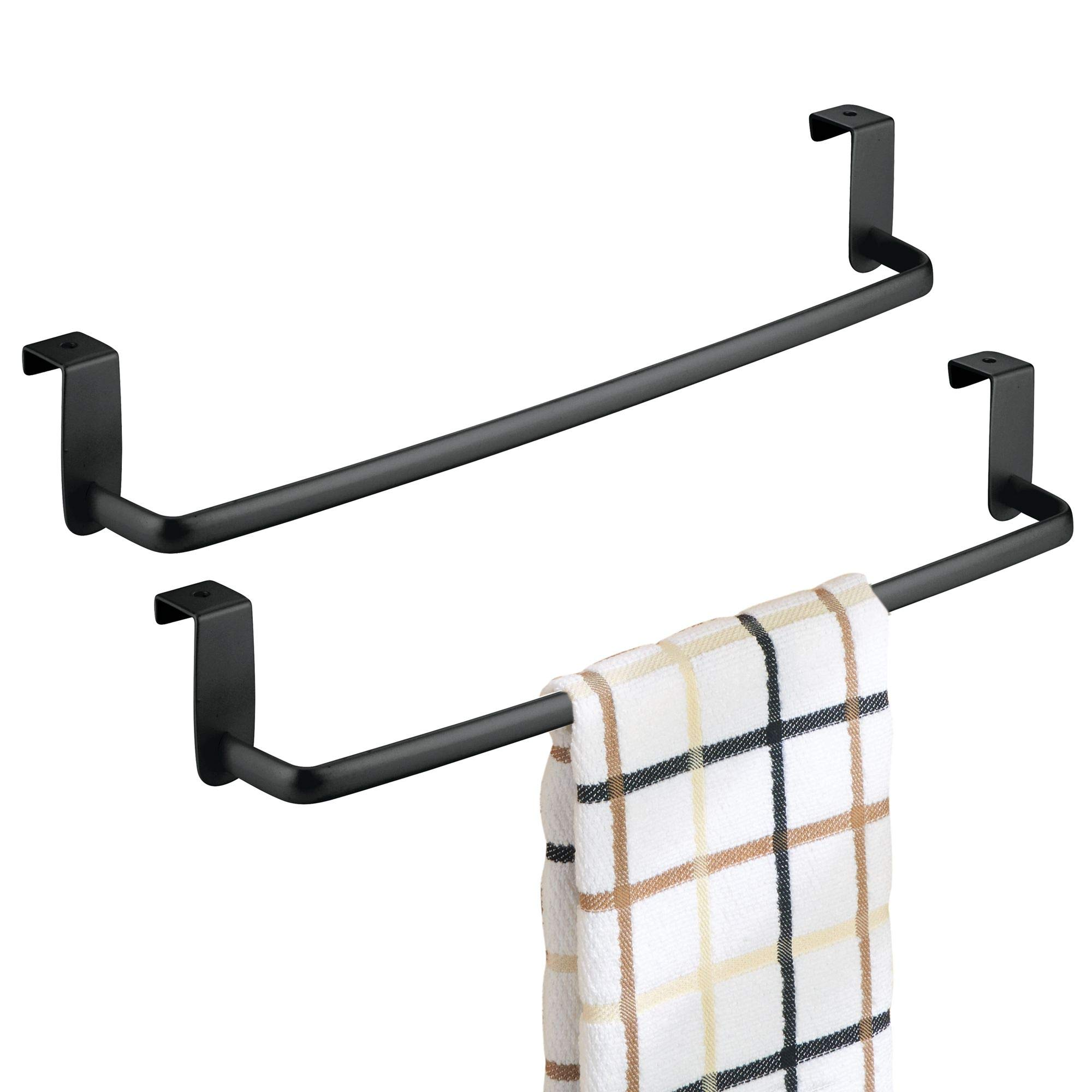 mDesign Kitchen Storage Over Cabinet Curved Steel Towel Bar - Hang on Inside or Outside of Doors, for Organizing and Hanging Hand, Dish, and Tea Towels - 14'' Wide, Pack of 2, Matte Black Finish