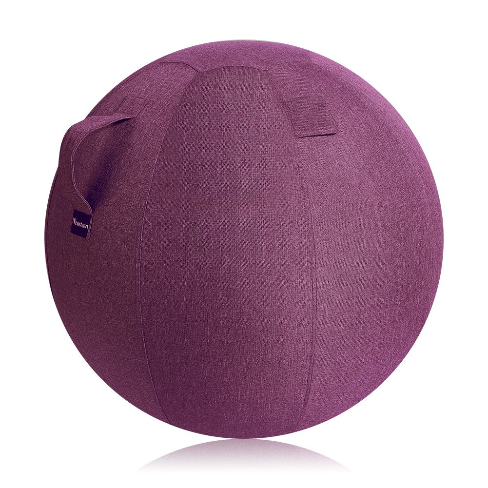 Neustern Balance Ball Chair Covers - Sitting Ball Chair Cover for Yoga, Office, Pilates, Birthing Ball Professional Quality Design Ergonomic with Handel Machine Washable (Wine Red, 65cm)