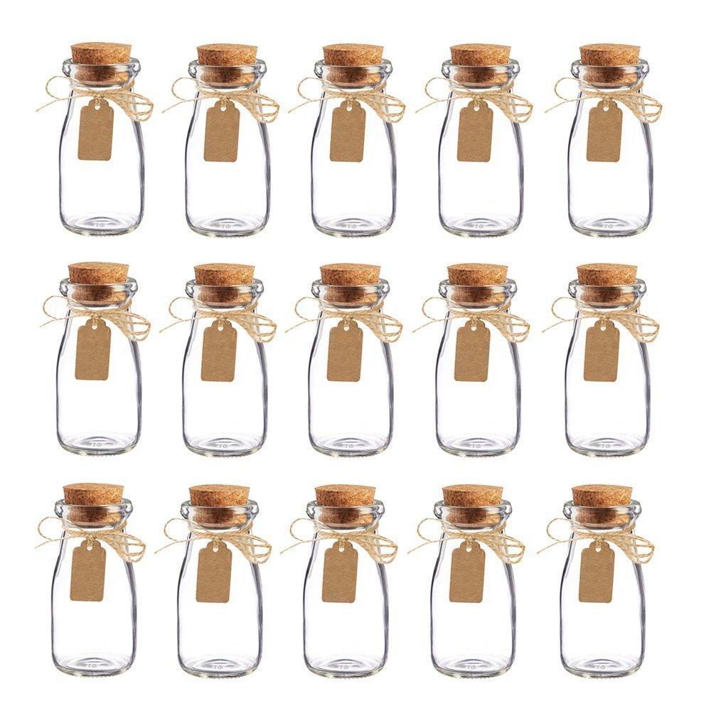 Awtlife - Juego de 15 tarros de leche, de cristal, vintage, con tapones de corcho para boda o fiesta: Amazon.es: Hogar
