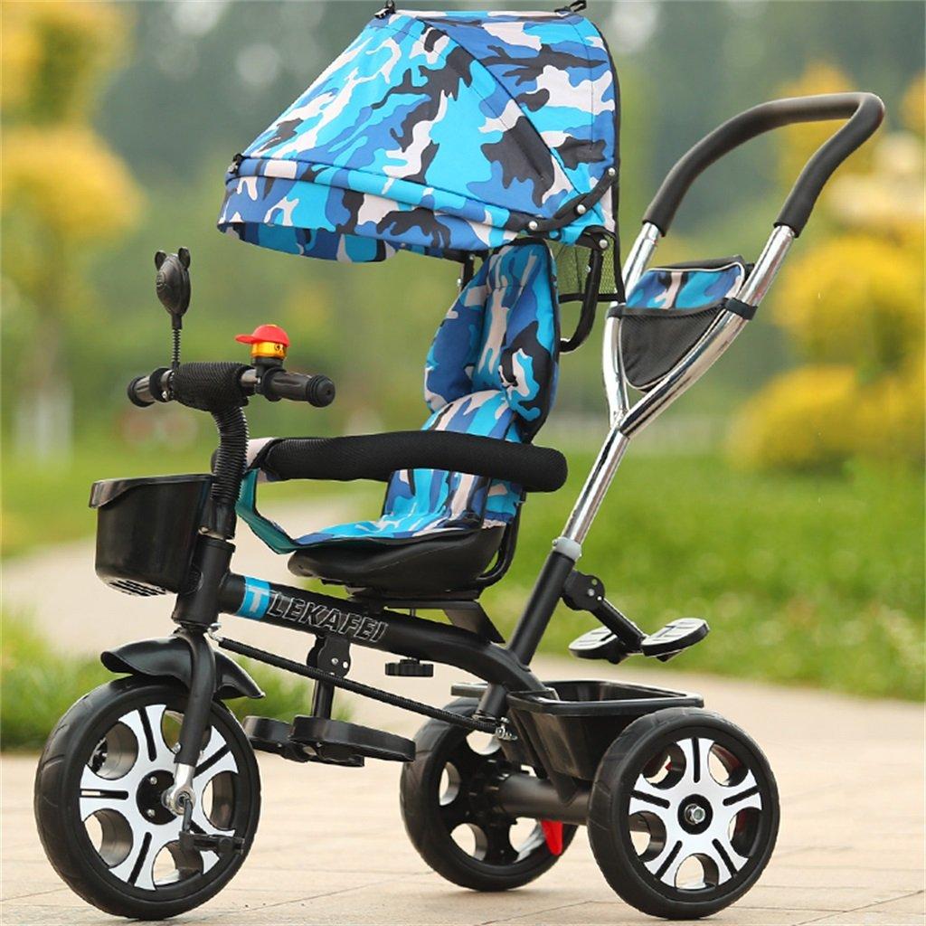 4-en-1 Niño Triciclo Kid Trolley Empuje Mango Stoller Bicicleta con Camuflaje Azul Anti-UV Toldo y Manija para Padres   para 1-3-6 años de edad Niño y niña Bebé   Asientos giratorios   Aleación de aluminio 3 rueda
