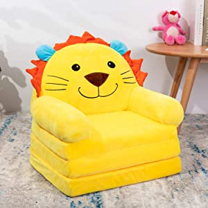 HIGOGOGO Cartoon Foldable Kids Sofa, Plush Lion Shape Children Couch Backrest Armchair Bed with Pocket, Upholstered 2 in 1 Flip Open Infant Baby Seat for Living Room Bedroom, Yellow