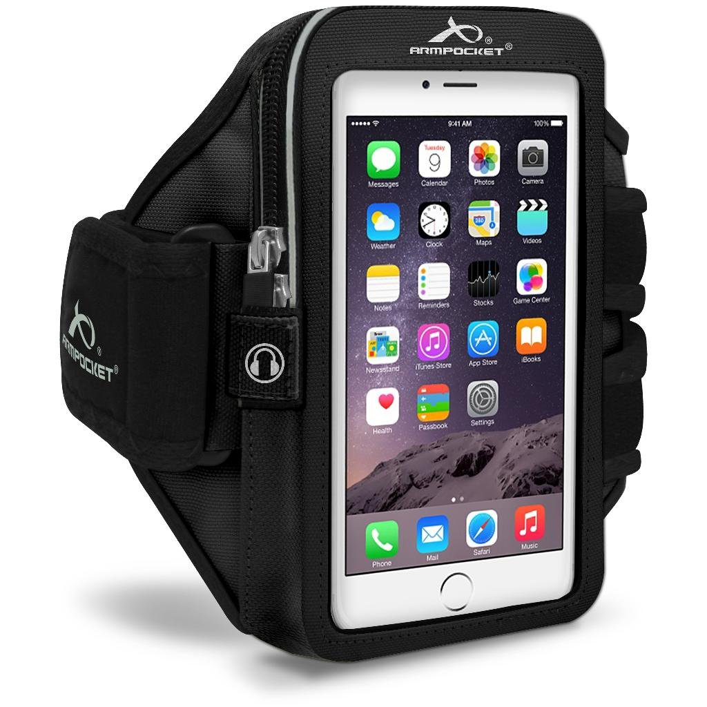Armpocket Mega i-40 Plus Sweat/Weather Proof Phone Armband, Black, Large Strap - Fits iPhone Xs Max/8 Plus/7 Plus/6 Plus, Galaxy S10/S10+/S9+/S8+, Note 9, Pixel 3XL/2XL/XL w case, or Phones up to 7''