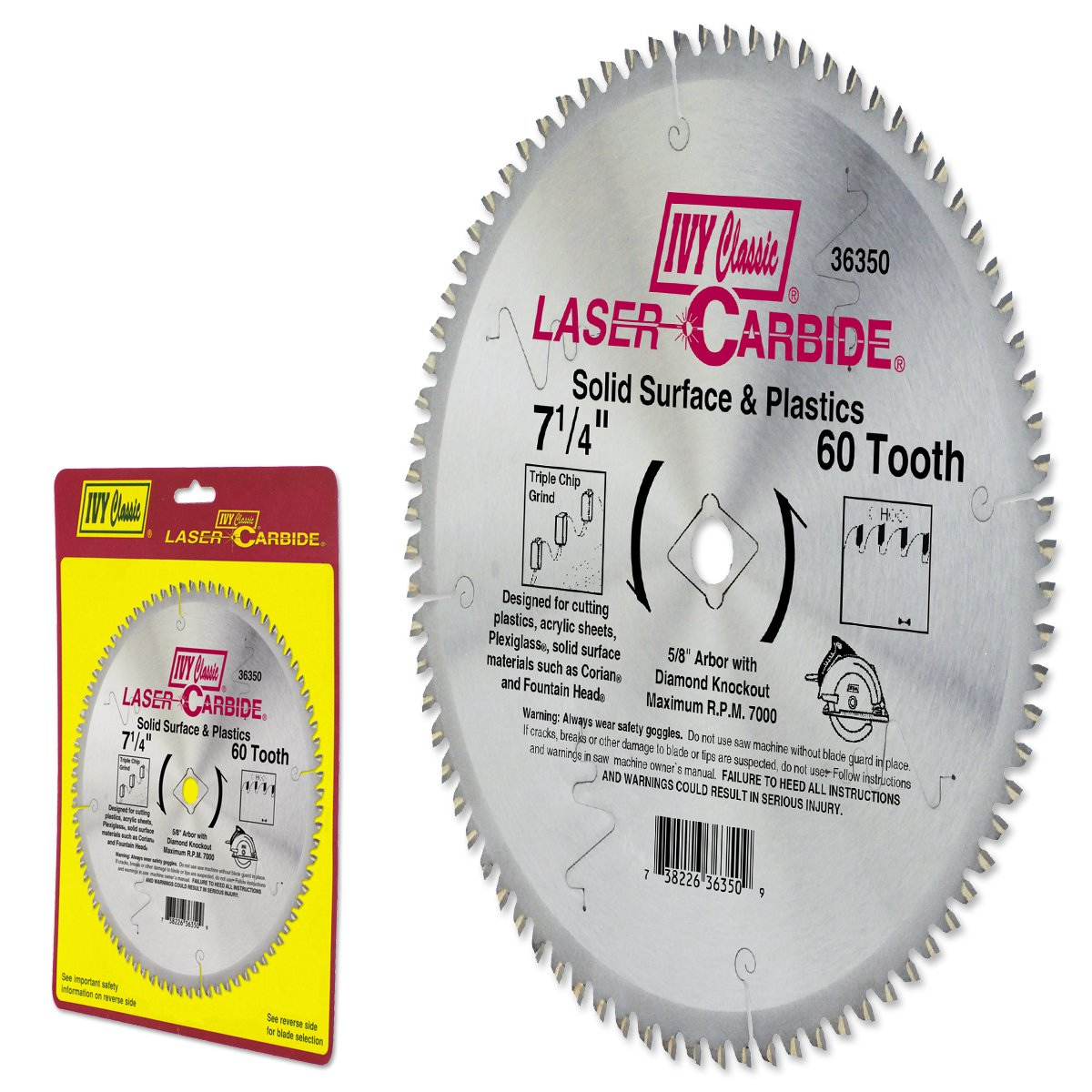 Ivy Classic 36350 Laser Carbide 7 1 4 Inch 60 Tooth Solid