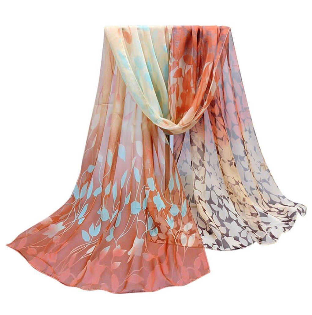 Women Autumn Winter Scarf; Lady Chiffon Silk Scarves Vovotrade (Coffee)