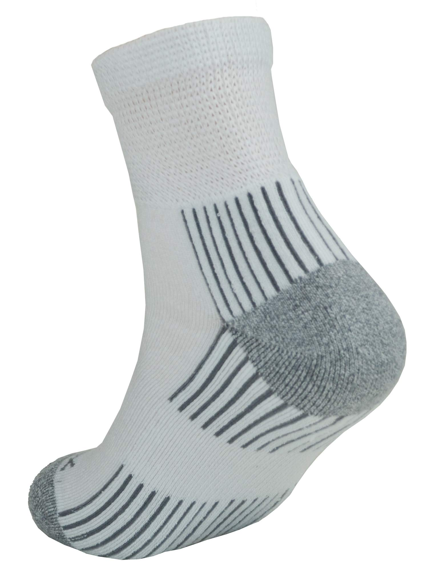 Ecosox Viscose Diabetic Bamboo Quarter w/Arch Support Socks (10-13 (3 Pack), White/Gray)