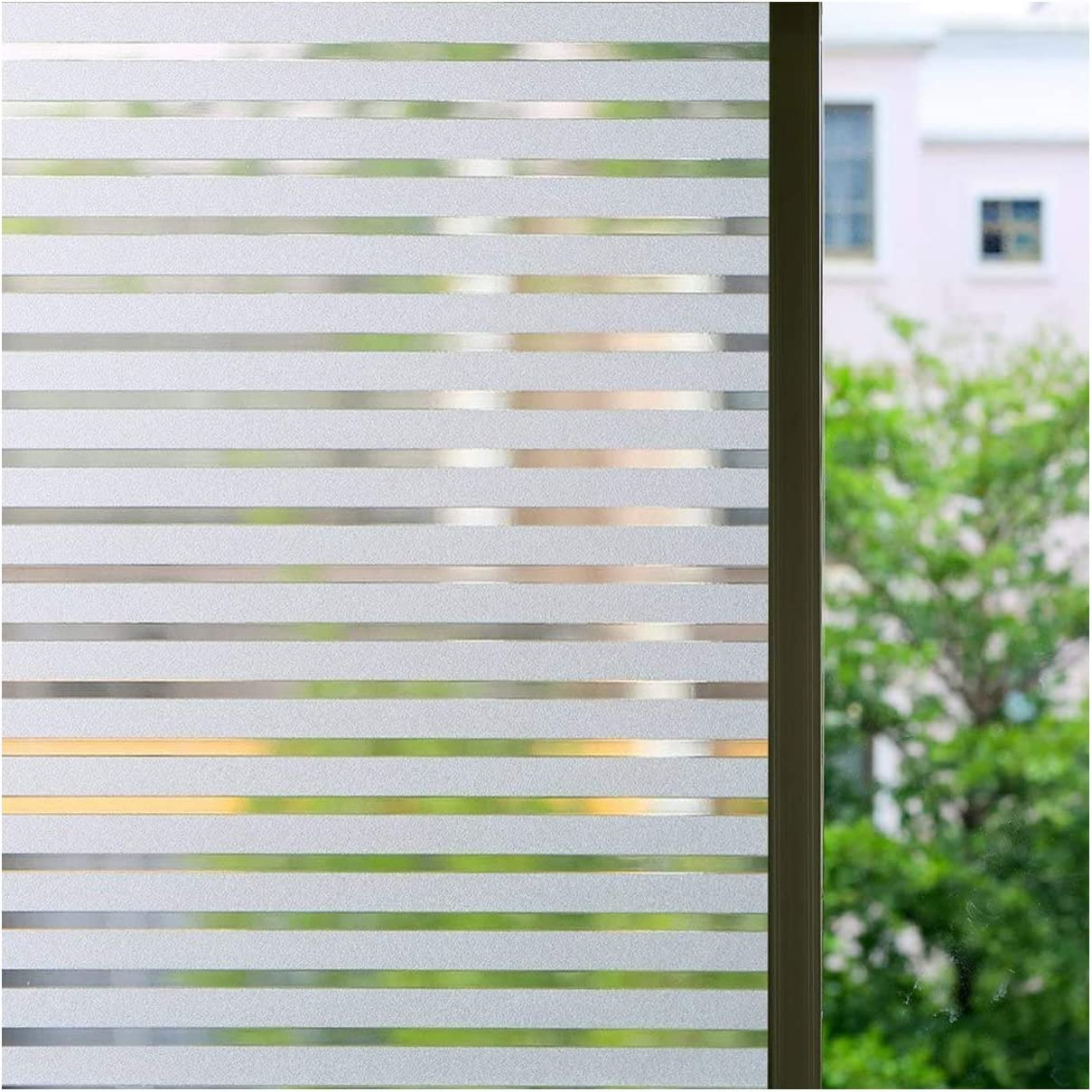 Bloss Privacy Window Film Office Decorative Window Cling Anti-UV Glass Film No-glue Window Decal For Home 17.7×78.7 inches