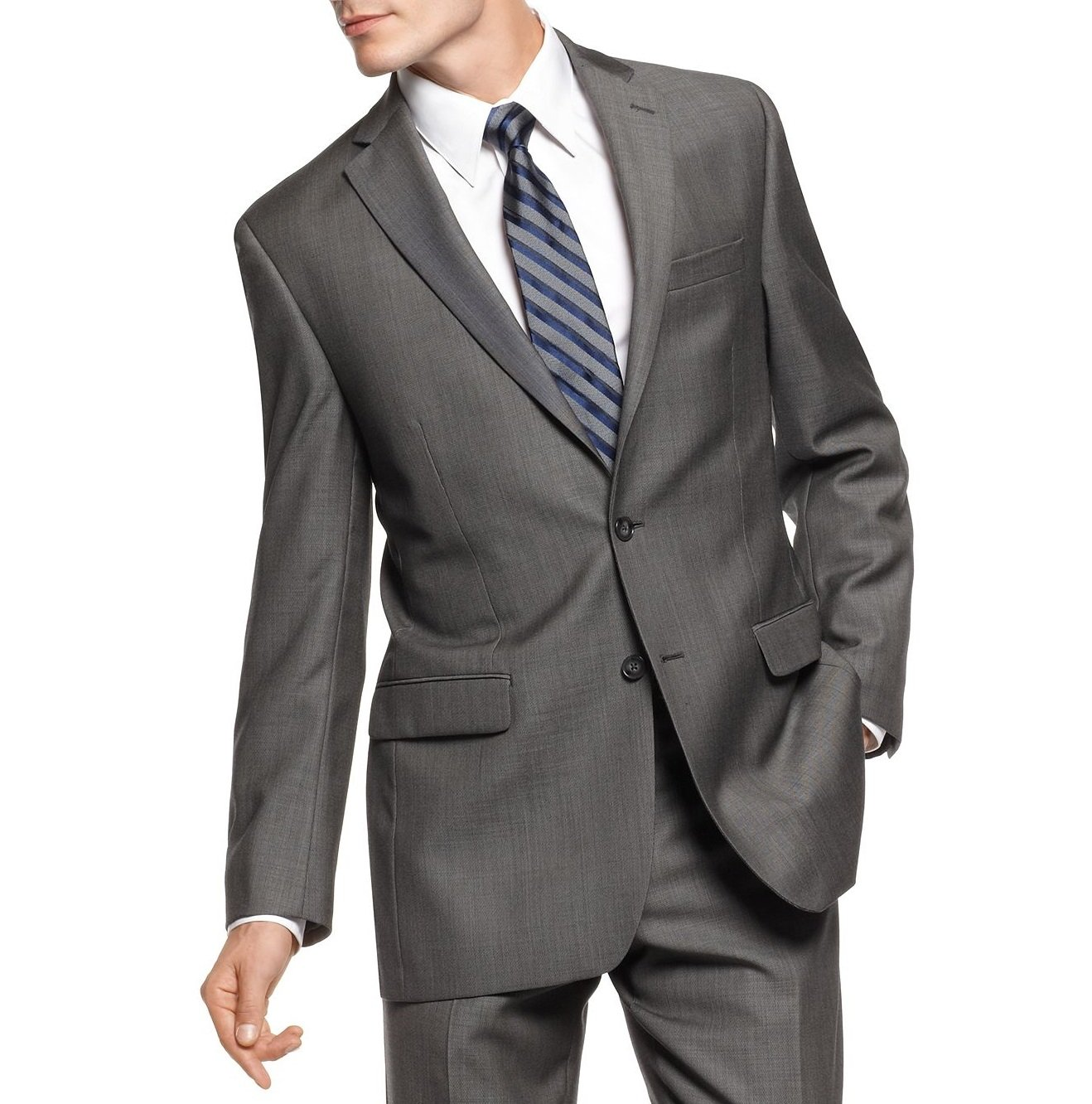 Calvin Klein Slim Fit Charcoal Pindot Two Button Wool New Mens Suit Set (42S 34W x 34L)