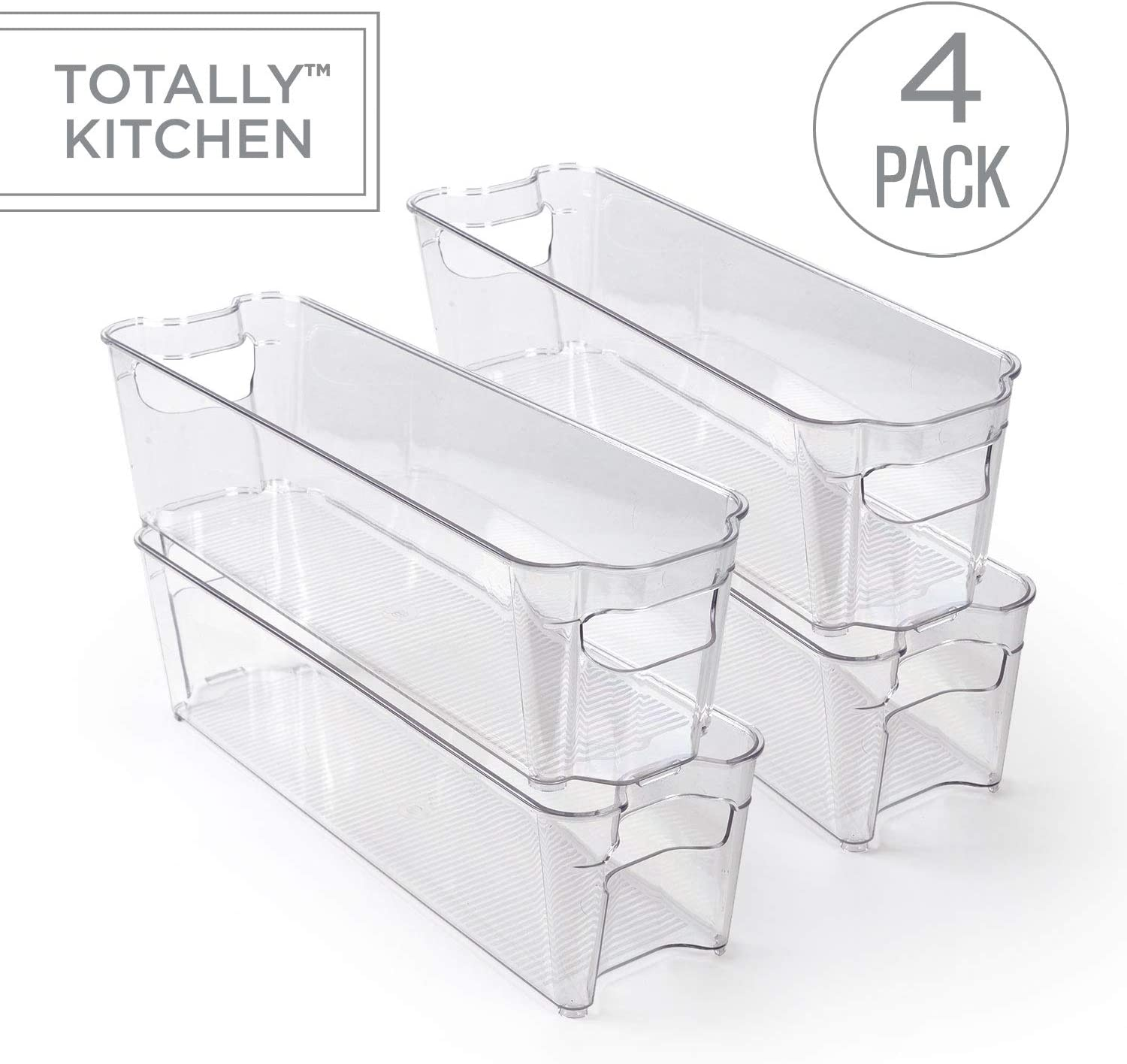 Totally Kitchen Clear Plastic Stackable Storage Bins | Refrigerator, Freezer, Pantry & Clothes Organization Container with Carrying Handles | Small, 4 Pack