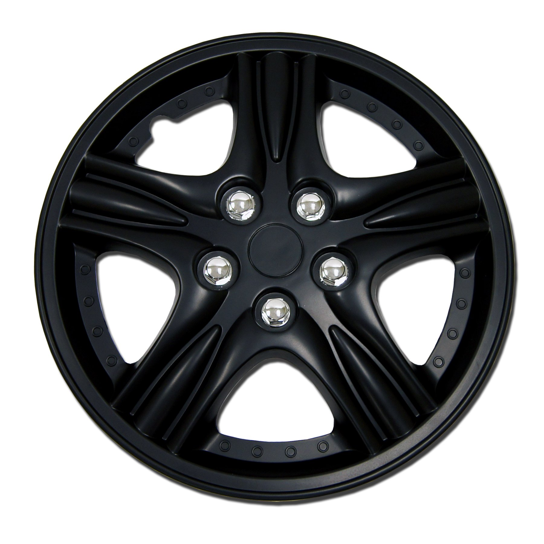 TuningPros WSC-510B15 Hubcaps Wheel Skin Cover 15-Inches Matte Black Set of 4
