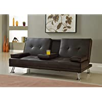 Multi Home Furniture MH-108SB Modern Soft PU Leather 3-Seater Sofa Bed, Foldable Futon for Living Room – Black