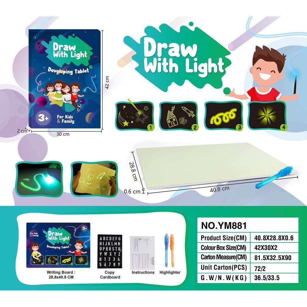 Tikaifr Dessinez avec la lumi/ère Planche /à Dessin Planche Lumineuse Table de Dessin pour Enfants Graffiti Magique pour Enfants 300 * 20 * 420mm A3