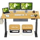 FEZIBO Height Adjustable Electric Standing Desk, 55 x 24 Inches Stand Up Desk Workstation, Full Sit Stand Home Office Table with Programmable Preset Controller, Black Frame/Bamboo Top